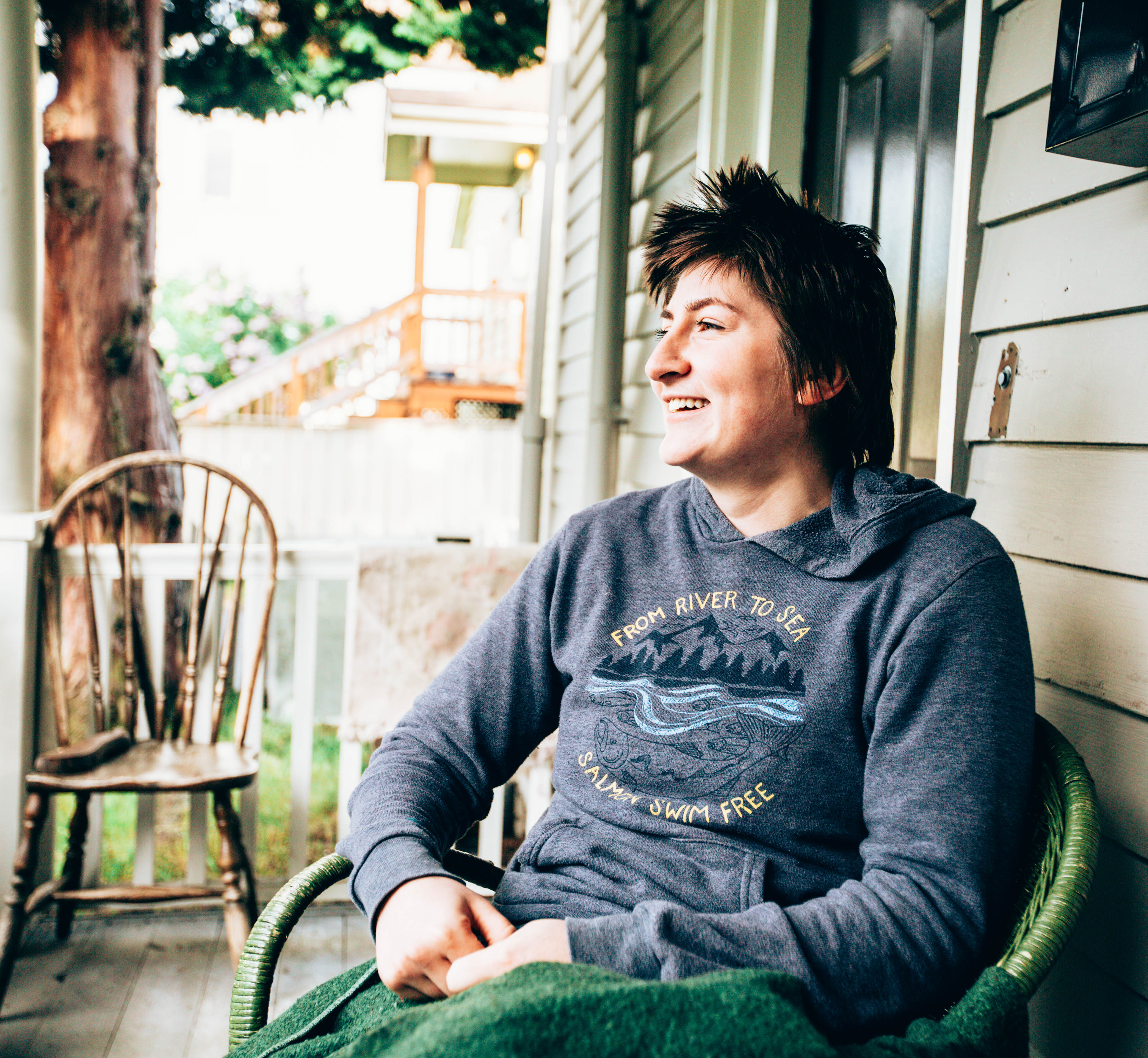 Sophie on her porch at her home in Bellingham, Washington. (Photo by Regan Bervar)