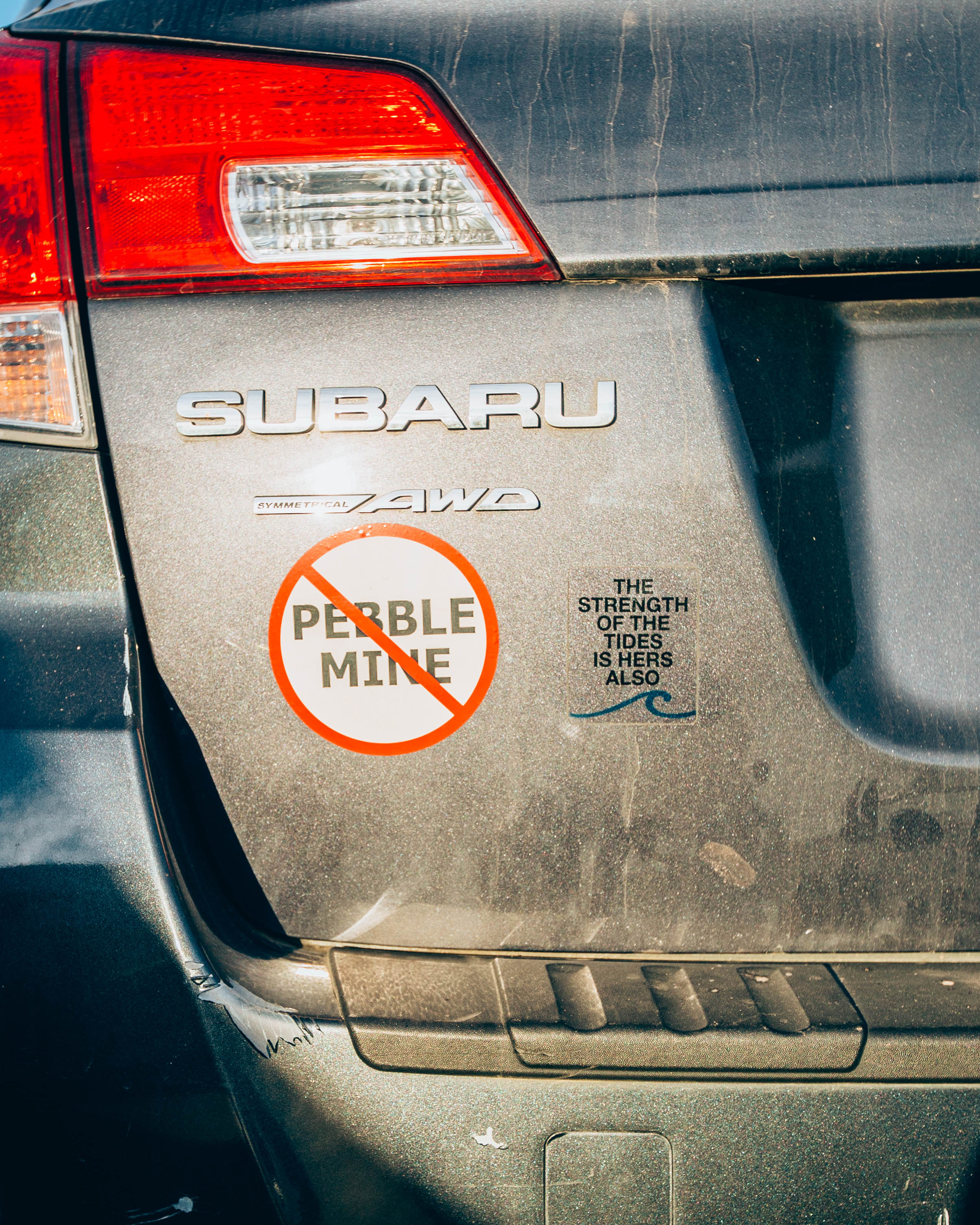 Elma Burnham's car with No Pebble Mine and Strength of the Tides stickers. (Photo by Regan Bervar)