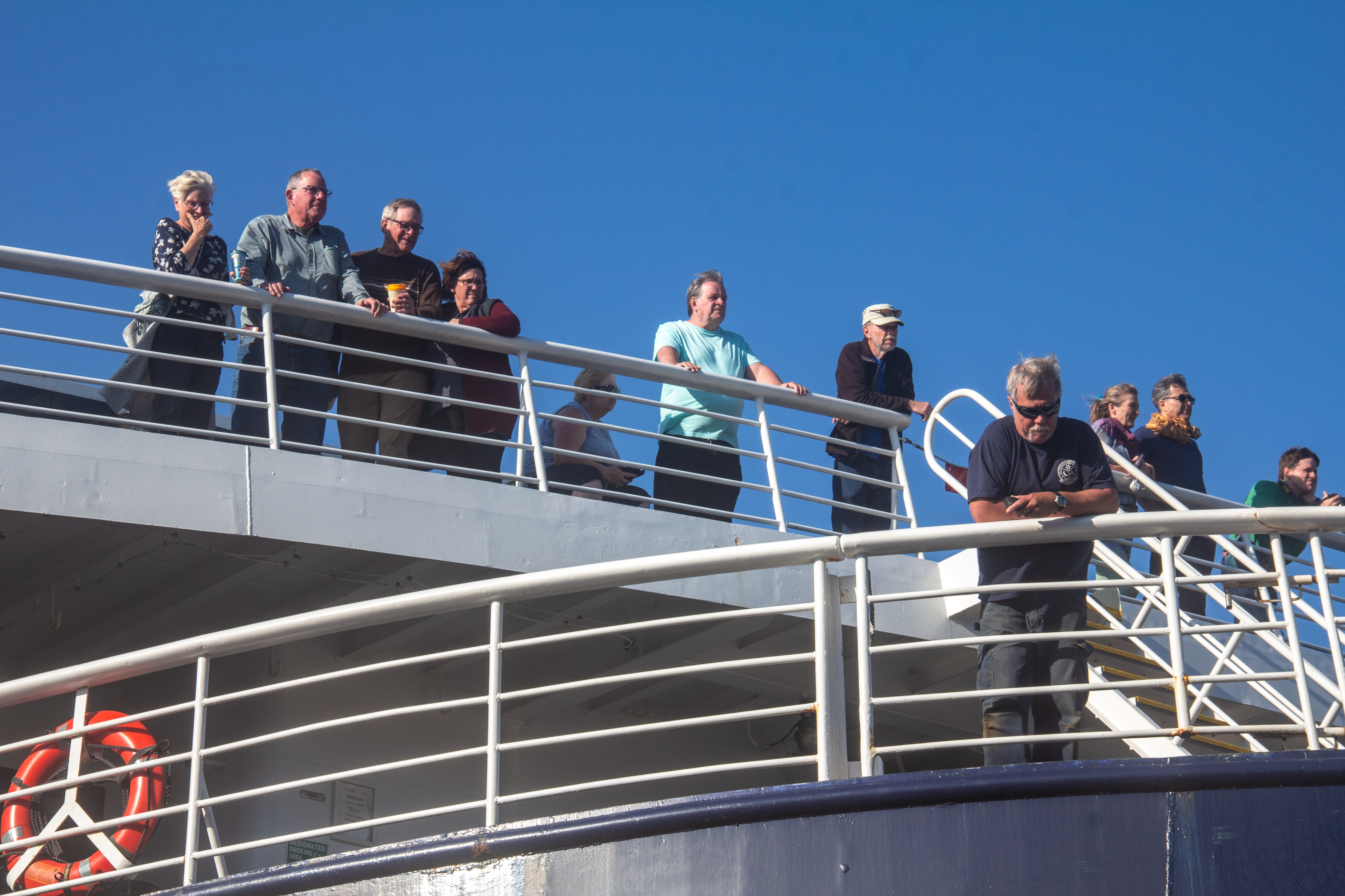 Passengers aboard the Alaska Ferry in Bellingham, Washington. (Photo by Joely Johnson)