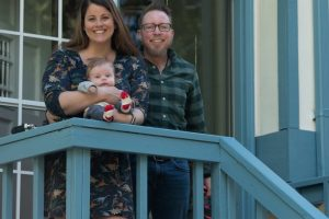 Western Washington Professor, Cameron Whitley and his wife Melanie, raise a newborn baby in the midst of the coronavirus. They both agreed they are making the most of the stay at home order because it enables them to spend more time with Oliver Thomas. Photo by Emily Porter